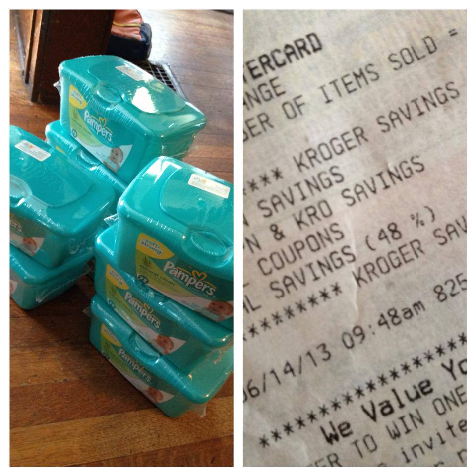 Thanks to the most recent mega-event at Kroger I have 12 brand new tubs of  baby wipes, which I got for 49 cents each. :)