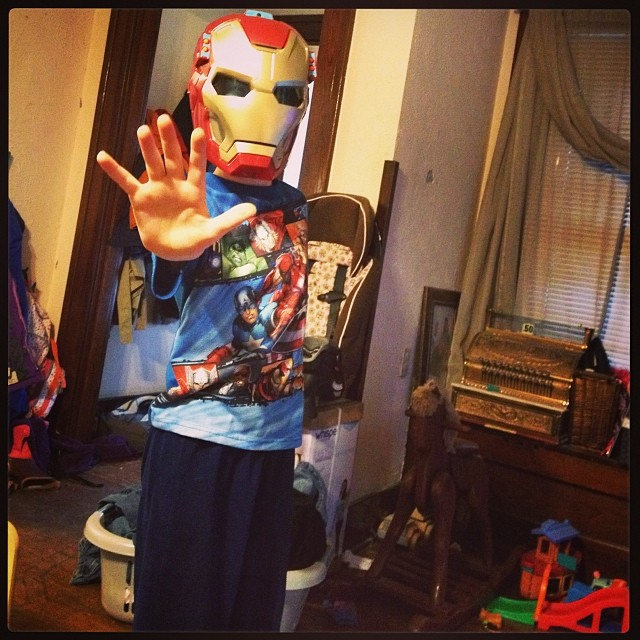 "Joshua's ""something to wear"" was this Ironman helmet that makes noises, lights up, and shoot projectiles at you! Awesome."